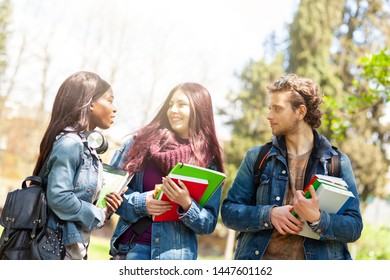 Three young students in the outdoor park. Multiracial group concept.