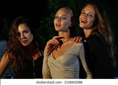 Three young women in the nightclub