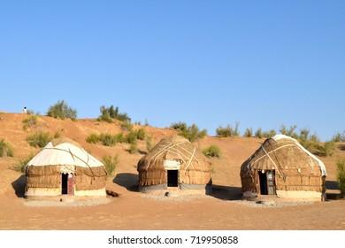 Three yurts in the desert