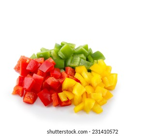 Three-color bell pepper, chopped isolated on white background.