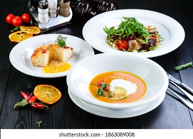 Three-course set menu for a nutritious healthy lunch in a restaurant, Three course set on a table in a business lunch, food set lunch