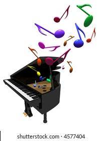 three-D illustration of grand piano with colorful notes come out of it