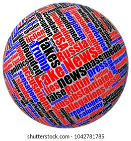 Three-dimensional 3D ball with colored fake news tag word cloud isolated on white