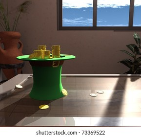 three-dimensional, composition of green hats, gold coins, and green clover.