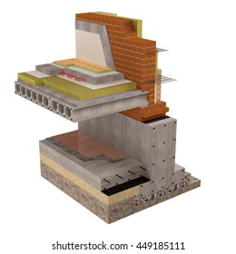 Three-dimensional conceptual image of construction details. Wall and foundation insulation of house. 3D render,