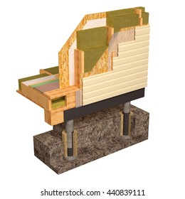 Three-dimensional image of the concept of building a frame house. Fragment of wall insulation of walls and floors. 3D model rendering.