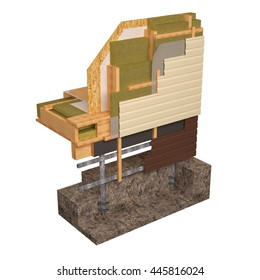 Three-dimensional image of the concept of building a frame house. Fragment of wall insulation of walls and floors. 3d Conceptual image of insulation and building construction frame house.