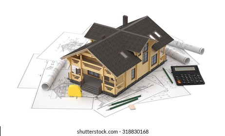 The three-dimensional image of a modern wooden house on a background of drawings. Objects isolated on white background. Image includes roulette, eraser, pencil and calculator.