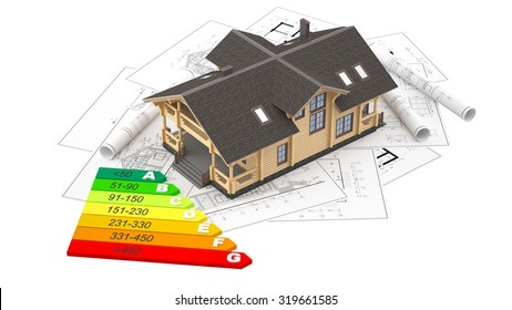 The three-dimensional image of a modern wooden house on a background of drawings with energy efficiency diagram.  Objects isolated on white background.