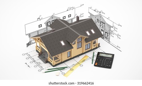 The three-dimensional image of a modern wooden house on a background of drawings. Image includes eraser, pencil and calculator.