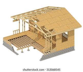 three-dimensional image of a wooden frame house. C?artoon conceptual image