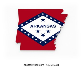 Three-dimensional map of Arkansas. USA. 3d