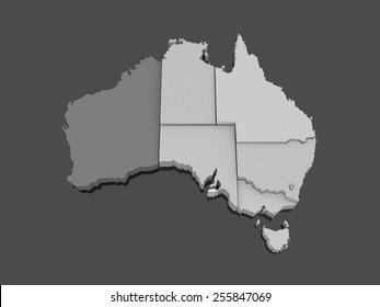 Three-dimensional map of Australia. 3d