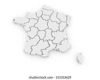Three-dimensional map of France. 3d