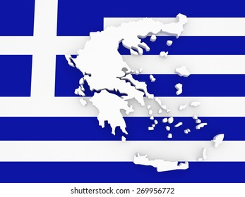 Three-dimensional map of Greece. 3d