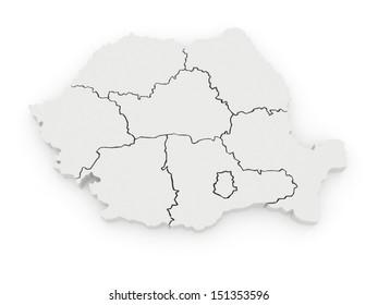 Three-dimensional map of Romania. 3d