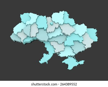 Three-dimensional map of Ukraine. 3d