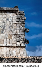 Three-dimensional masks at the corner of the Thousand Warriors temple in Chichen Itza, believed to be the Ancient Mayan god of rain and lightning Chac.