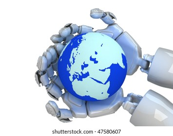 Three-dimensional model of hands of the robot and planet the Earth