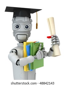 Three-dimensional model of the robot with books and the diploma