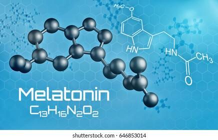 Three-dimensional molecular model of Melatonin - 3d render