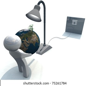 three-dimensional people with earth in the hands of a lamp