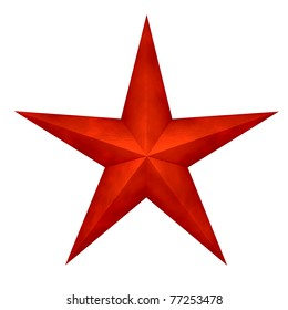 Three-dimensional red star isolated
