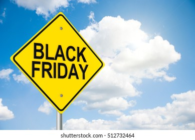 Three-dimensional rendering of road sign Black Friday on the blue sky, 3D illustration