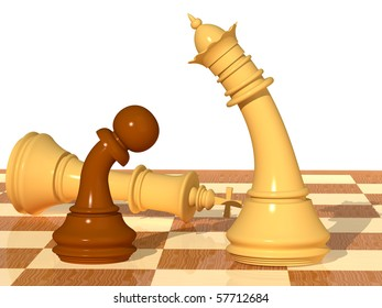 Three-dimensional scene with chessmen of a queen, a pawn and king