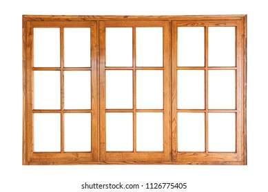 Threefold wooden window isolated on white background