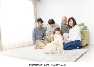 Three-generation family taking care of dog