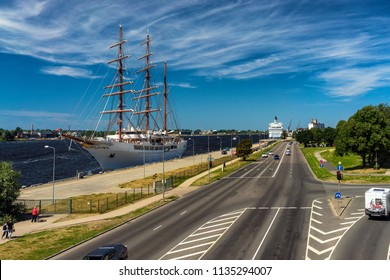 Three-masted ship in the port of Riga