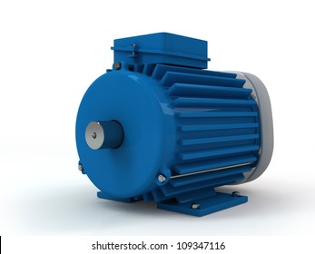three-phase asynchronous electric motor on a white background