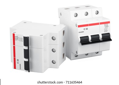 Three-pole miniature circuit breakers, 3D rendering isolated on white background