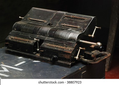 Three-quarter view of old adding machine