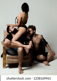 Threesome. Sensual threesome kiss. Intimate relationship and sexual relations. Passion and sensual. Couple In Love. Romantic and love
