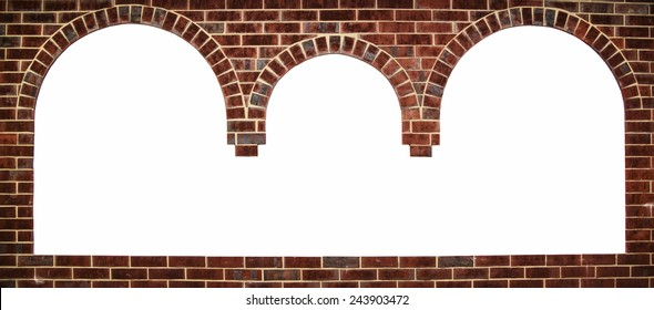 The three-spatial arch with space for text frame in brick wall background