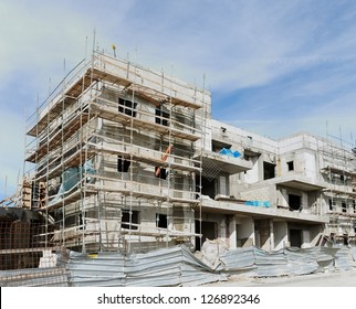 Three-storeyed apartment building under construction