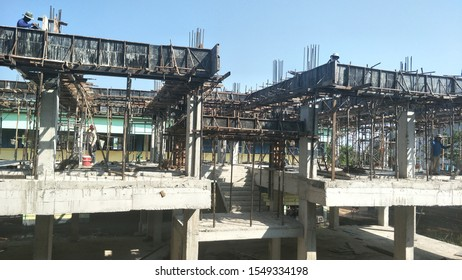 Three-story building building under construction