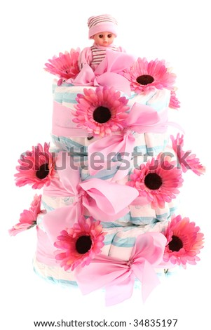 Three Tier Birthday Cake Made Of Diapers With Pink Flowers And Doll On Top
