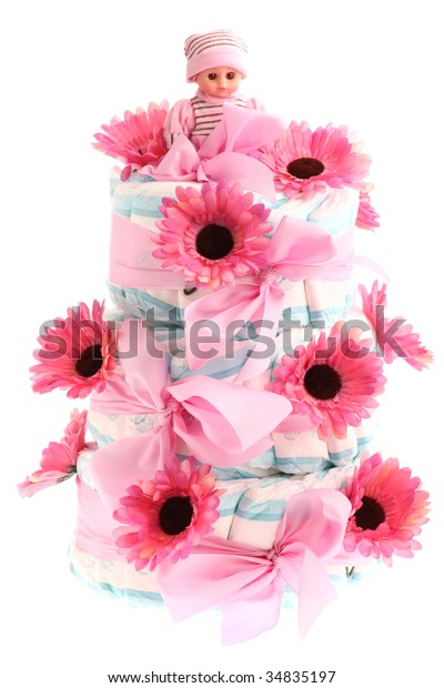 Tremendous Threetier Birthday Cake Made Diapers Pink Stock Photo Edit Now Funny Birthday Cards Online Alyptdamsfinfo