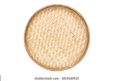 Threshing basket made from the bamboo strip. Threshing basket use for rice winnowing and threshing isolated on white background.
