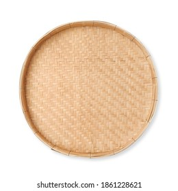 Threshing basket use for rice winnowing and threshing made from the bamboo strip, isolated on white background with clipping path included.
