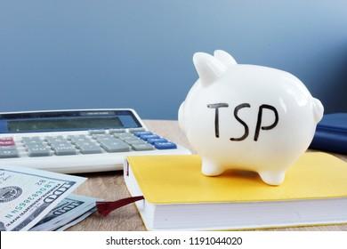 Thrift savings plan TSP written on a piggy bank.