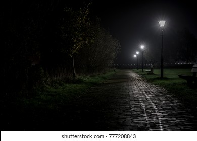 Thriller scene road into the dark