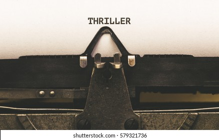 Thriller, Text on paper in Vintage type writer machine from 1920s closeup with paper