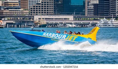 Thrilling fast jet boat ride in Sydney Harbour, Sydney, Australia on 7 December 2014