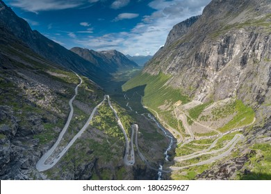 The thrilling Trollstigen ascent through a serpentine mountain road and pass in Rauma, Møre og Romsdal, Norway..With steep incline of 10% and eleven hairpin bends up a steep mountainside.