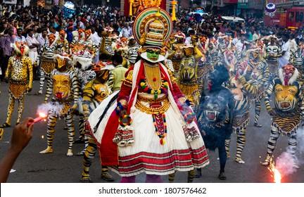 THRISSUR, KERALA / INDIA - Sept 17, 2016 : PULIKKALI  (Tiger Dance) is  a recreational folk art from the state of Kerala. It is performed at Swaraj Round during the occasion of Onam. KERALA, INDIA