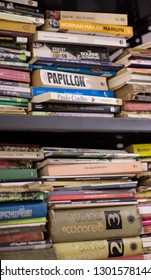Thrissur, Kerala/India- January 28, 2019: A metal shelf full of old and new books, especially in Malayalam, are placed in a home library